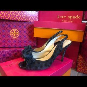 Kate Spade Celeste Grey/Leopard Black Patent Heels